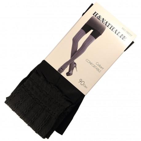 Collant Confort Effet Bas 90DEN Noir
