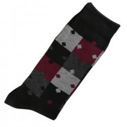Pack de 2 Paires Chaussettes Homme Classique Puzzle Coton Noir
