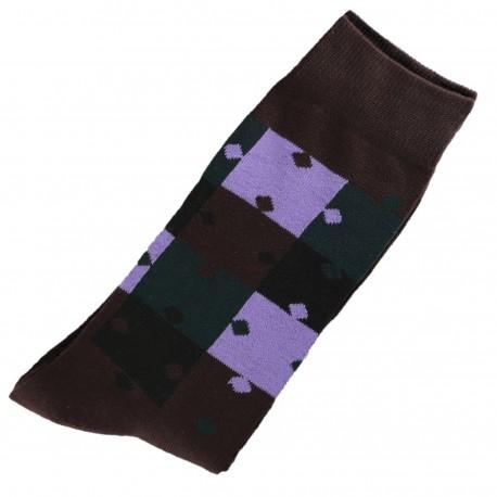Pack de 2 Chaussettes Homme ClassiquePuzzle Coton Marron