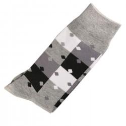 Pack de 2 Paires Chaussettes Homme Classique Puzzle Coton Gris
