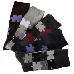 Pack de 6 Paires Chaussettes Assorties Homme Puzzle Coton