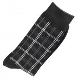 Pack de 2 Paires Chaussettes Carreaux Homme Classique Coton Noir