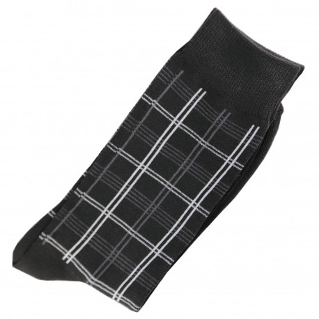Pack de 2 Chaussettes Carreaux Homme Classique Coton Noir