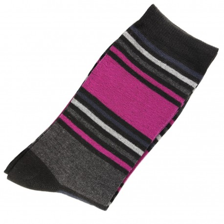 Pack de 2 Paires Chaussettes Mixte Coton Rayée Multicolore