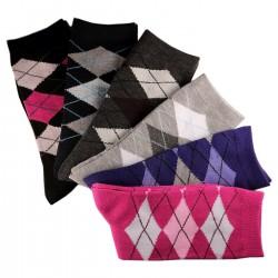 Pack de 6 Paires Chaussettes Assorties Femme Coton Ecossais