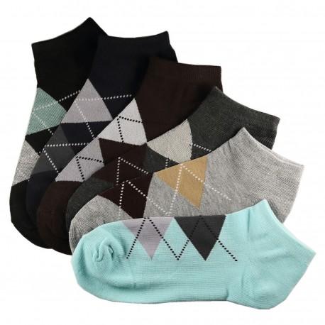 Pack de 6 Paires Socquettes Assorties Coton Femme Ecossais T.U.