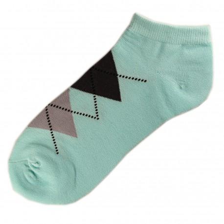 Pack de 3 Paires Socquettes Coton Femme Ecossais T.U. Bleu