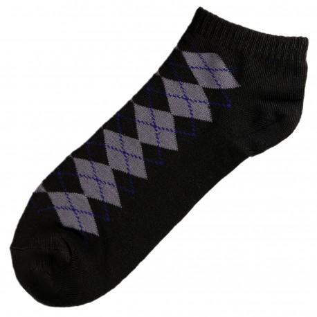 Pack de 3 Paires Socquettes Coton Ecossais Homme T.U. Noir