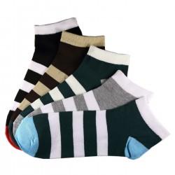 Pack de 5 Paires Socquettes Assorties Coton Rayée Homme T.U.