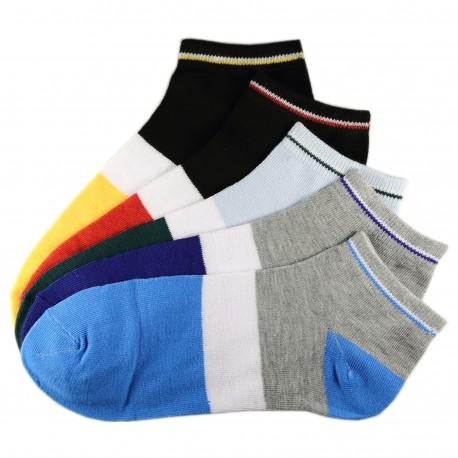 Pack de 5 Paires Socquettes Coton Tricolore Mixte T.U. Jaune