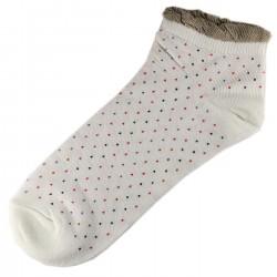Pack de 3 Paires Socquettes Coton Petits Pois Femme T.U. Blanc Cassé