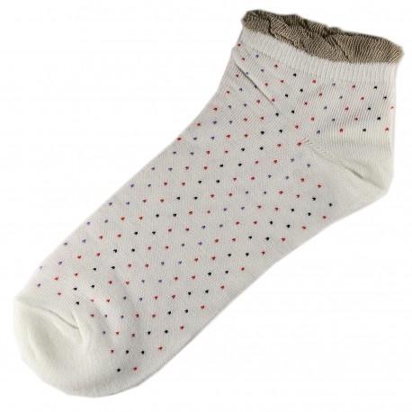 Socquettes Coton Petits Pois Femme T.U. Blanc Cassé
