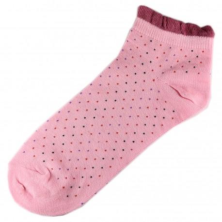 Socquettes Coton Petits Pois Femme T.U. Rose