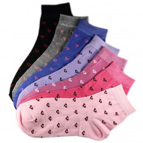 Pack de 7 Paires Chaussettes Assorties Coton Coeur Femme T.U.