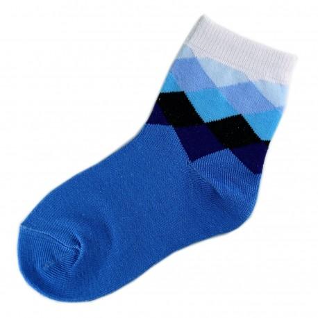 Chaussettes Garçon Coton Motifs Ecossais Bleu
