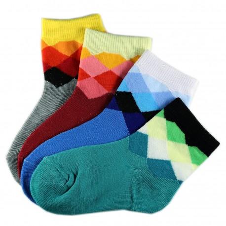 Pack de 12 Paires Chaussettes Assorties Garçon Coton Motifs Ecossais