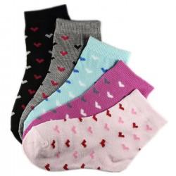 Pack de 6 Paires Chaussettes Assorties Fille Coton Motifs Petits Coeurs