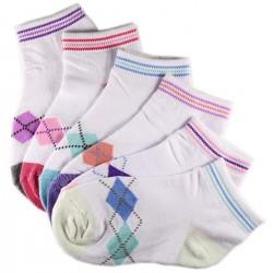 Pack de 12 Paires Chaussettes Assorties Fille Coton Motifs Ecossais