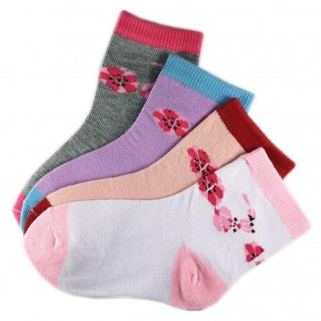 Pack de 4 Paires Chaussettes Assorties Fille Coton Motifs Fleurs