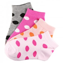 Pack de 4 Paires Chaussettes Assorties Fille Coton Motifs Petits Pois