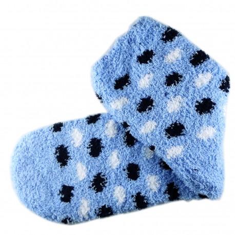 Pack de 3 Paires Chaussettes Chaudes Polaire Motif Petits Pois Bleu
