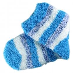 Pack de 3 Paires Chaussettes Chaudes Polaire Motif Rayée Bleu