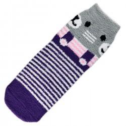 Pack de 3 Paires Chaussettes Chaudes Polaire Motif Animal Violet
