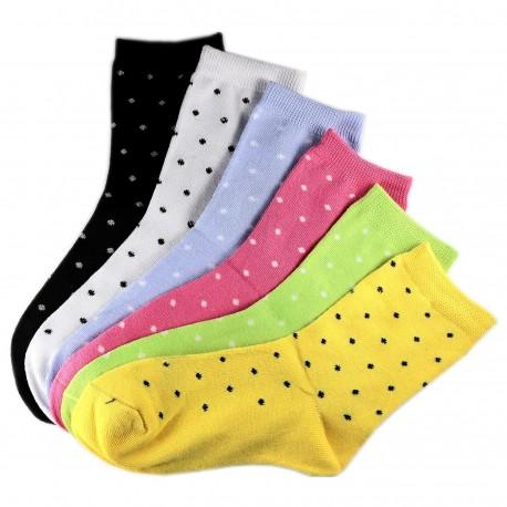 Pack de 6 Paires Chaussettes Assorties Petit Pois Femme T.U.