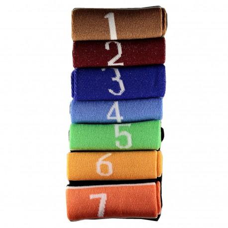 Pack de 7 Paires Chaussettes avec Chiffres Mixte T.U.