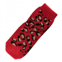 Pack de 2 Paires Chaussettes Chaudes Polaires Motif Panthère Rouge T.U.