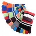 Pack de 6 Paires Socquettes à doigts Rayures Multicolores Assorties T.U.