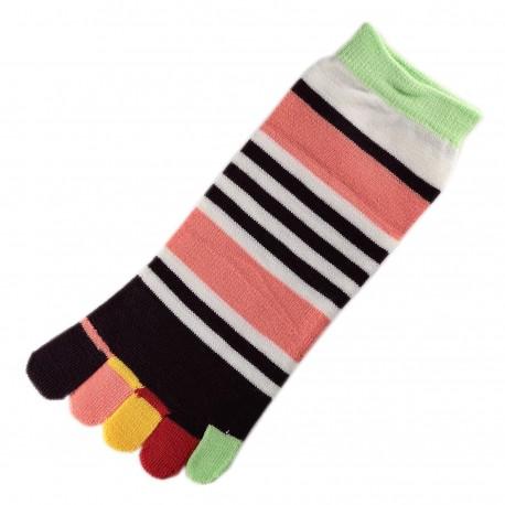 Pack de 2 Paires Socquettes à doigts Rayures Multicolores T.U.