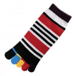 Socquettes à doigts Rayures Multicolores T.U.