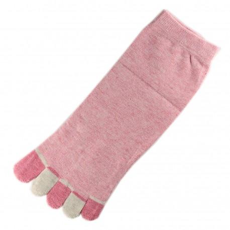 Pack de 2 Paires Socquettes à doigts Rose dragée T.U.