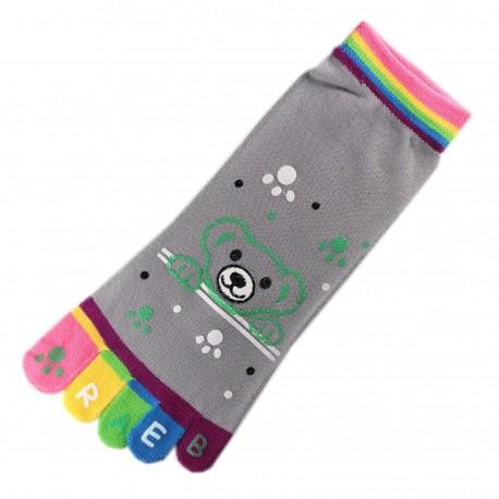 Pack de 2 Paires Socquettes à doigts Nounours gris T.U.