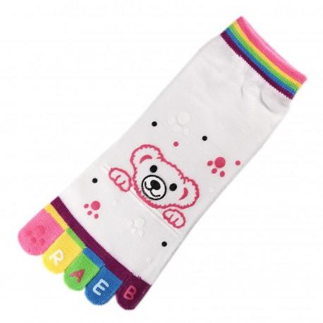 Socquettes à doigts Nounours Blanc T.U.