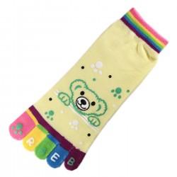 Socquettes à doigts Nounours Jaune T.U.