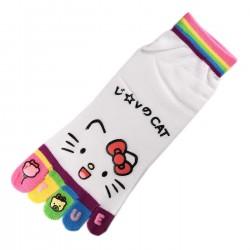 Pack de 2 Paires Socquettes à doigts CHAT Love Cat Blanc T.U.