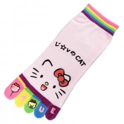 Pack de 2 Paires Socquettes à doigts CHAT Love Cat Rose T.U.