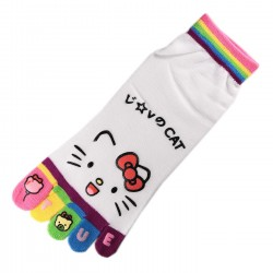 Socquettes à doigts CHAT Love Cat Blanc T.U.