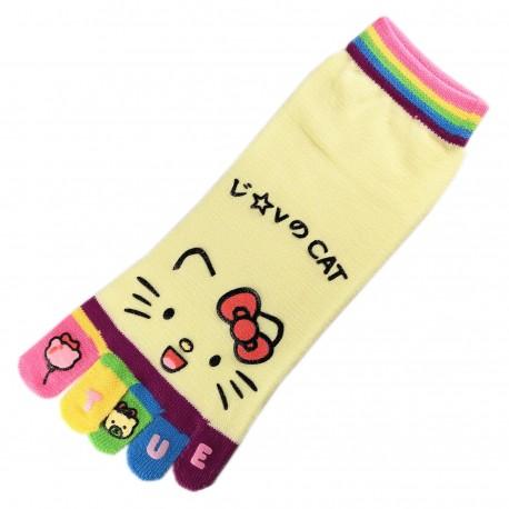 Socquettes à doigts CHAT Love Cat Jaune T.U.