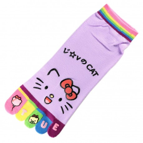 Socquettes à doigts CHAT Love Cat Mauve T.U.