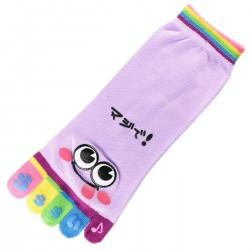 Pack de 2 Paires Socquettes à doigts SMILES Mauve T.U.