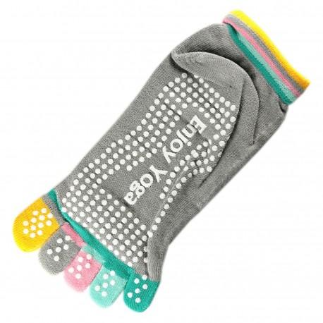 Socquettes à doigts Enjoy Yoga Gris T.U.