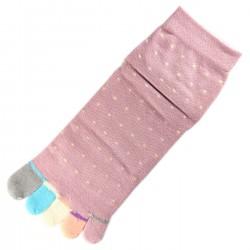 Pack de 2 Paires Socquettes à doigts à Pois Mauve T.U.