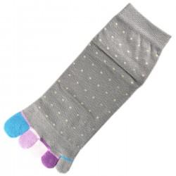 Socquettes à doigts à Pois Gris T.U.