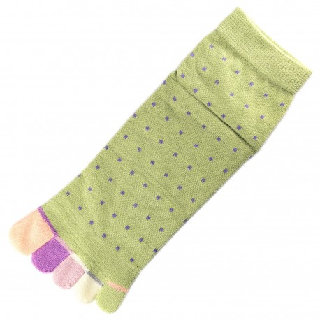 Socquettes à doigts à Pois Vert T.U.