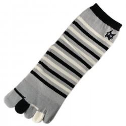 Socquettes à doigts à rayures Gris T.U.