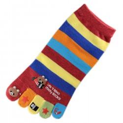 Pack de 6 Paires Socquettes à doigts à rayures Nounours Assorties T.U.
