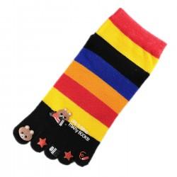 Socquettes à doigts à rayures Nounours Noir T.U.